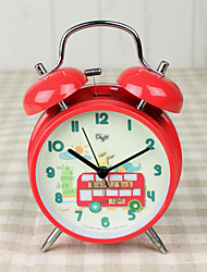 "Kids' Cartoon Design 4""Dial Twin Bell Mute Alarm Clock Red Clock Bus Drawing Dial for Boy or Girl's Birthday"