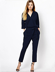 Retro Lady  Women's Casual/Work Long Sleeve Jumpsuit (Chiffon)