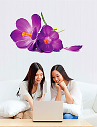 Wall Stickers Wall Decals, Purple Flowers PVC Wall Stickers