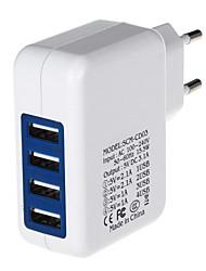 4000mA quatre ports usb power adaptateur / chargeur (100 ~ 240V / EU Plug)