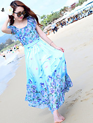 Women's Vintage / Beach / Casual / Print / Cute / Party / Maxi Dress Maxi Others / Chiffon