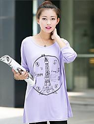 Mulheres Camiseta Decote Redondo Manga Longa Acrílico Mulheres