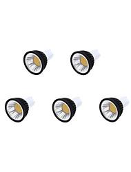 3.5w gu10 led spotlight mr16 1 cob 350 lm blanc chaud / blanc froid / blanc blanc réglable 220-240 v 5 pcs