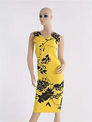 Women's Vintage / Print / Work Dress Knee-length Cotton / Polyester / Spandex