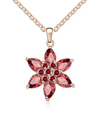 Raspberry Shadow Short Necklace Plated with 18K Rose Gold Garnet Crystallized Austrian Crystal Stones