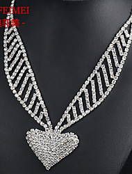 Bridal necklace bridal jewelry Korean version of the full diamond love necklace set studio supplies wedding accessories