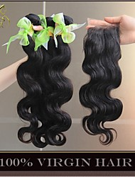 3 Bundles Eurasian Virgin Hair Body Wave With Closure Unprocessed Human Hair Weave And Free/Middle/3 Part Lace Closures