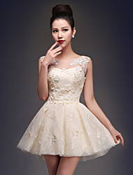 Homecoming Cocktail Party Dress - Champagne Princess Scoop Short/Mini Satin/Tulle