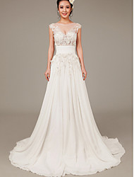 Sheath/Column Sweep/Brush Train Wedding Dress -Bateau Chiffon