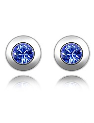 Star's Wish Stud Earring Plated with 18K True Platinum Sapphire Crystallized Austrian Crystal Stones