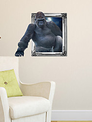 3D Wall Stickers Wall Decals, Gorilla Bathroom Decor Mural PVC Wall Stickers