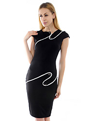 Women's Bodycon / Party / Work Dress Knee-length Cotton / Polyester / Knitwear / Elastic