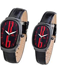 relógio simples retângulo de couro genuíno faixa de pulso de quartzo analógico do casal (cores sortidas)