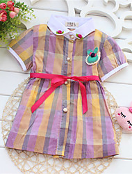 Girl's Summer/Spring/Fall Micro-elastic Medium Short Sleeve Dresses (Cotton)
