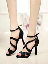 Customizable Women's Dance Shoes Latin/Salsa/Samba/Performance Leatherette Stiletto Heel Black
