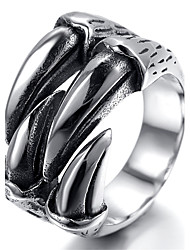 Mens Stainless Steel Ring, Vintage, Biker, Silver, Claw KR1857
