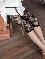 Women's Full Lace Fashion Sexy Hollowed Out Through Meat Rose Seven Leggings