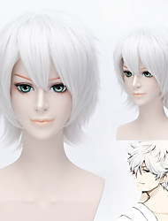 Hitman Reborn Byakuran Short Straight White Anime Cosplay Wig