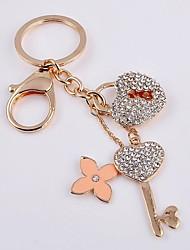 Key Shape Rhinestone Keychain