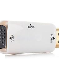 weiß HDMI zu VGA-Ausgang Video-Adapter mit 3,5 mm Audio-Kabel für Apple TV&Projektor&Monitor