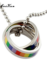 2015 new gay lesbian rainbow rings silver pendant necklace