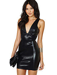 Women's Solid Black Dress , Sexy/Bodycon/Party Deep V Sleeveless Backless