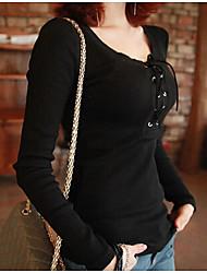 Diepe U-hals - Katoen/Polyester Vrouwen - T-shirt - Lange mouw
