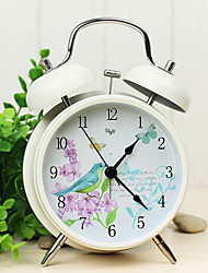 "British Rural Style 4""Dial Twin Bell Mute Alarm Clock Ivory Clock  Bird and Flower Dial Home Decor Clock Original Design"
