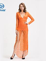 CANIS@Elegant Women's Sexy Backless Lace Dress Mermaid Maxi Dress