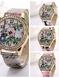 Koshi oro donne moda donna orologio digitale moda orologio digitale oro femminile torre eiffel rosa quadrante fiore