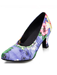 Non Customizable Women's Dance Shoes Latin Flocking Low Heel Purple