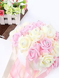 8 Inch Foam Santin Artifiical Kissing Rose Flowers Semisphere Balls Wedding Bouquet Car &Home Decoration