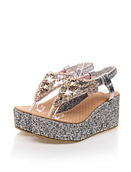 Women's Shoes Wedge Heel Slingback Sandals Office & Career/Dress Silver/Gold
