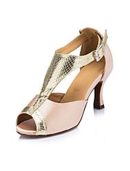 Non Customizable Women's Dance Shoes Latin Flocking Stiletto Heel Ivory