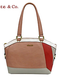 Kate@Co.® Women's Pink Real Leather COLor Splicing Handbag