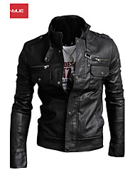 MANWAN WALK®Men's Casual Slim Multi Zipper Leather Jacket.Solid Stand Color Motorcycle Coat.