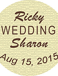 Personalized Wedding Tags Address Labels Envelope Sticker Brown and Ivory Circular Pattern Of Filmed Paper