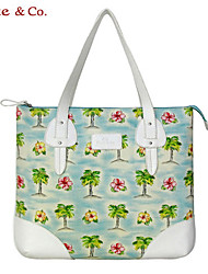 Kate@Co.® Women's White Pvc Figured Cloth Sea Embroider Floral Print Multifunctional Canvas Bag(14 Inch)