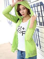 Mulheres Camisa Manga Longa Nylon Mulheres