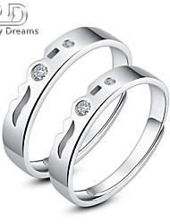 Poetry Dreams Sterling Silver 2-stone Adjustable Rings Couple Rings Set