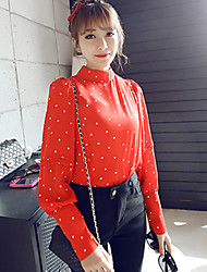 Women's Casual Stand Collar Dot Wave Point Puff Sleeve Regular Shirt (Chiffon)