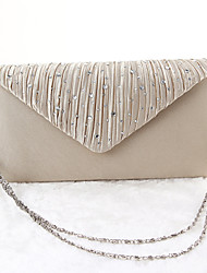 Women Satin Minaudiere Clutch / Evening Bag - Gold / Silver / Black