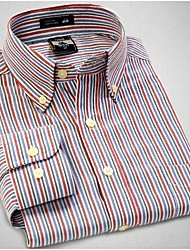 U&Shark Men's High Quality of  Modal-Oxford Long Sleeve Shirt with Red Grey Strips/CMDN01