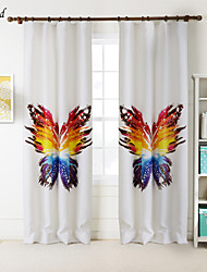 (One Panel)The Colorful Butterfly Polyester Print Room Darking Curtain