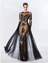 Fiesta formal Vestido - Negro Corte Recto Hasta el Suelo - Escote Joya Tul