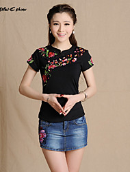 Milaieshow Women's China National Embroidery  Plus Size T-shirt
