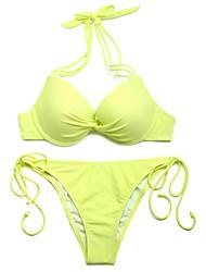 I-Glam Women's Greenish Yellow Add-2-Cups Halter Top Bikini Swimwear Set with Push-up Molded Cups
