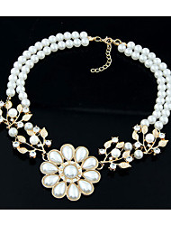 Palace restoring ancient ways of pearl flower drill bride bridesmaid short necklace