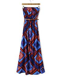 Women's National Style Cotton Print Tube Dress