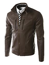 Men's Stand Coats & Jackets , PU Long Sleeve Casual Fashion Winter / Fall LEMON
